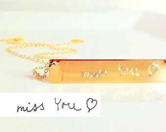 Custom Handwriting Necklace loved ones handwriting jewelry handwritten Personalized gold bar nameplate Necklace Memorial handwriting jewelry