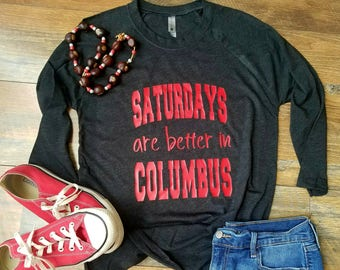 Ohio Shirt - Saturday's are Better in Columbus Shirt - Football Raglan - Ohio State Raglan - Womans Clothing - Scarlet and Grey