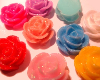 50 x Mixed colour sparkly flat back resin rose bud flower 13mm x 8mm embellishment cabochons