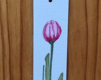 An Original Watercolor Bookmark, Tulip