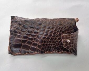 Crocodile Glasses Case, Croco Eye Wear Case, Leather Eye Glass Case