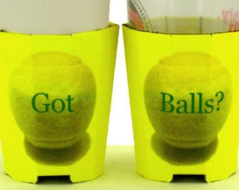 Beverage Insulators 2PK GotBalls #Tennis Ball Printed Pocket Huggies-EcoFriendly, Folds, Starbucks Cold/Hot,3 Sizes: CAN, CUP, BEER Bottle