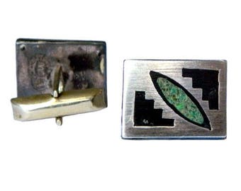 Vintage 1950s Mexican Sterling Silver Cufflinks Malachite