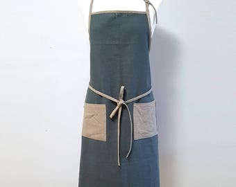 Pure linen  apron 2color combi - Charcoal