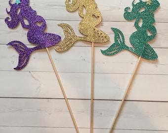 Mermaid Centerpiece sticks, Mermaid Baby Shower Table Decorations, Baby Shower Centerpiece, Baby Centerpieces, Pregnant Mermaid (Set of 3)
