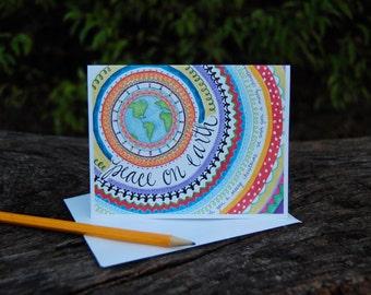 Peace on Earth Holiday Card - Whimsical Mandala World Holiday Christmas Card