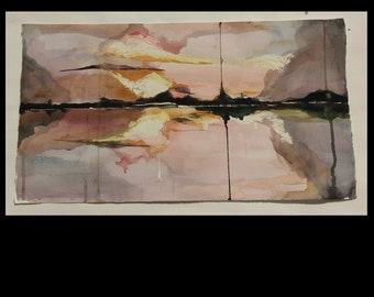 Original Watercolor Painting, Seascape/Abstract, Brown, Black