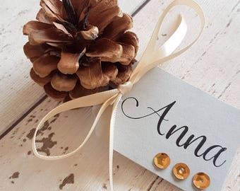 Pine Cone Place Name Card Grey. Gold, Silver or Copper Sequin Detail on Grey Tag. Cream Satin Ribbon. Autumn Winter Wedding, Woodland Theme.