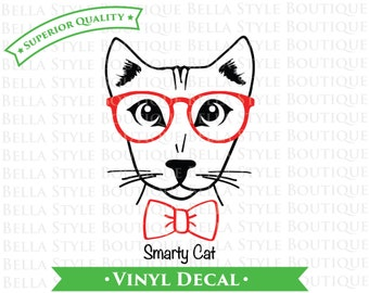 Smarty Cat TWO Color VINYL DECAL