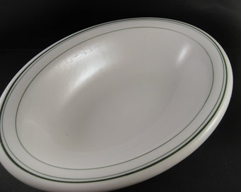 Homer Laughlin Best China Restaurant Ware Oval Serving Bowl White Green Lined Trim