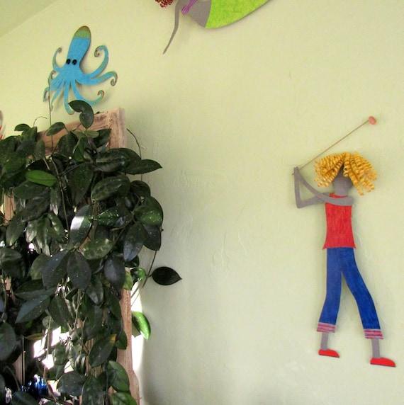 Metal Wall Art Lady Golfer Sculpture Blonde Golfing Wall Decor