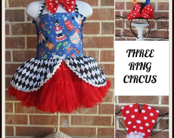 Clown costume,  Circus Ringmaster pettiskirt, bow tie and skirted corset, Carnival tutu, circus outfit