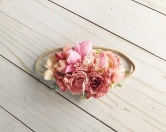RUSTIC ROSE PINK floral headband