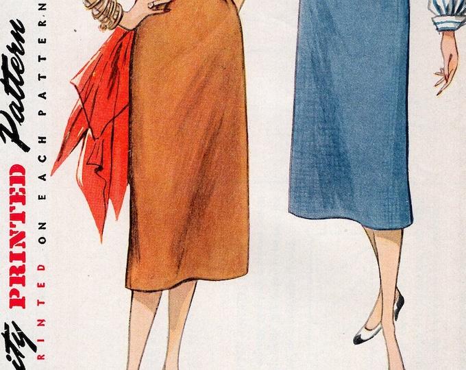 FREE US SHIP Original Uncut Sewing Pattern Vintage Retro 1950s 50s Simplicity 4254 Pencil Slim Skirt Uncut Waist 26
