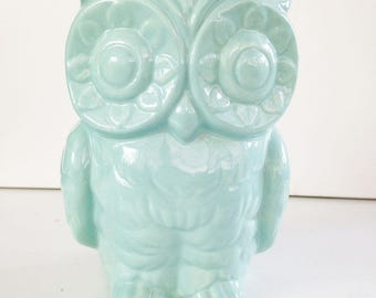 Tiki Owl Vase Pencil Holder Tiki Bar Owl Planter  Ceramic Vase Vintage Design Blue Decor Bar Swizzle Stick Holder Bird Vase