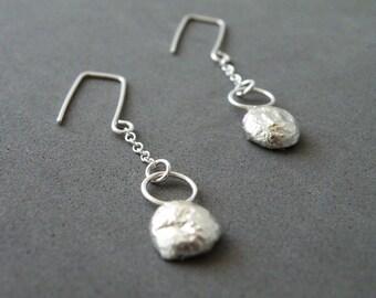Sterling Silver Nugget Earrings Modern Minimalist Earrings Dangle Earrings by SteamyLab