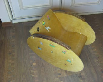 Vintage 1950s Swedish Plywooden Sweden  plywood baby child rocking chair