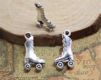 25pcs Roller Skate Charms Silver Tone Roller Skate charm pendant 21x12mm ASD0349
