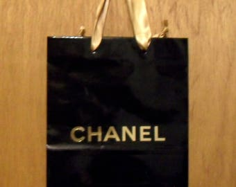 Vintage 1990s Chanel Perfume Promotional Glossy Black and Gold Paper Shopping Bag Designer Fragrance Collectible