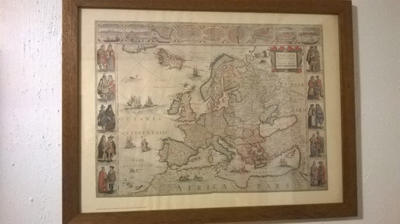 Vintage old world map of europe reproduction print in like this item gumiabroncs Choice Image
