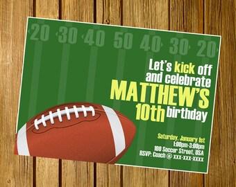 Football invitation, Football birthday invitation, Football party invitation, Football Birthday invite. Printable JPEG 4x6 or 5x7