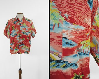 Vintage 50s Hawaiian Shirt Rayon Red Ocean Beach Print - Size Large
