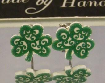 Shamrock Stud earrings - Four Leaf Clover jewelry - St Patrick's Celtic Jewellery