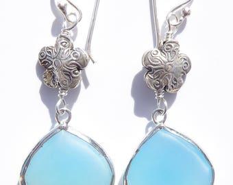 Chalcedony Earrings, Blue Chalcedony Gemstone Earrings, Sterling Flower Earrings, Periwinkle Blue Gemstone, Sterling Wire-wrapped Earrings