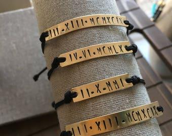 Roman Numeral Date Bracelet / cording / QTY 1
