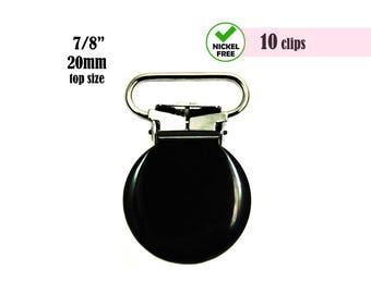10 Black Pacifier Clip 7/8. enamel binky clip. baby pacifier holder clips. baby suspender clips diy. mitten clips. dummy clips #293060