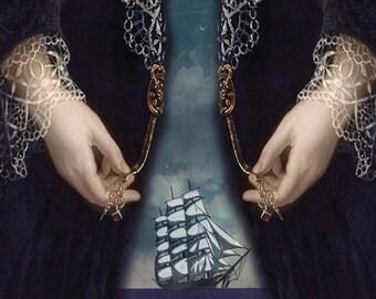 Ship Ocean Dress Nautical Portrait Blue Art Print Surreal Portrait Beach House Decor