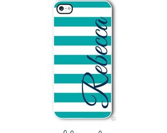 Personalized iPhone Case Custom Monogram Case iPhone 4 5 5s 5c 6 6s 6 Plus, Samsung Galaxy S4 S5 S6 Tough Phone Preppy Stripe Style 286