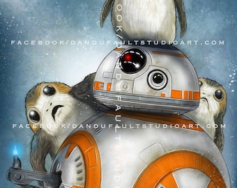 "Porgs and BB-8!  'Star Wars: The Last Jedi' 11x17"" Artist Signed Print"