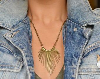 Brass Spike Mini Bib Necklace