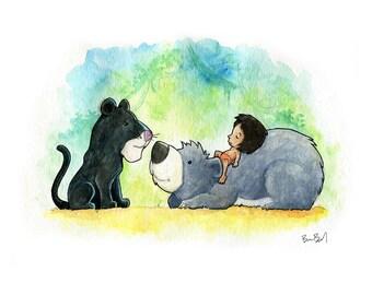 Bageera, Baloo, and Mowgli Jungle Book Inspired Watercolor Print