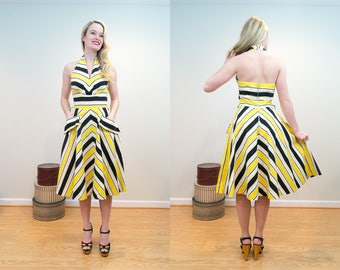 1940s Vintage Dress - Yellow and Dark Navy Striped Halter Dress