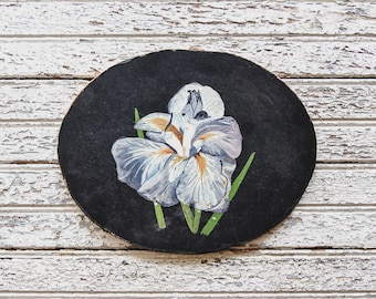 Vintage Blue Iris Oil Painting, Floral Painting, Oil On Board, Farmhouse Decor, Cottage Decor