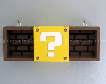 Super Mario Bros Shelf - Shadow Box Shelf - Modern Question Mark Block - Hand Made - Hand Painted - MADE TO ORDER