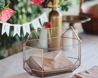Wishing Well Box, Wedding Card Box, Conservatory Envelope Holder, Sweetheart Table Decor, Copper Centerpiece, Geometric Money Box, Glass Box