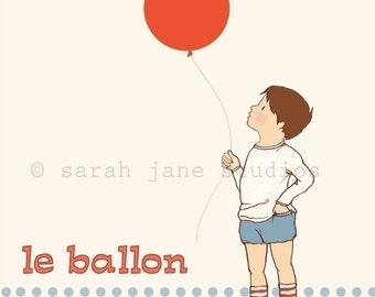 Children's Wall Art Print - Le Balloon - Boy Kids Nursery Room Decor