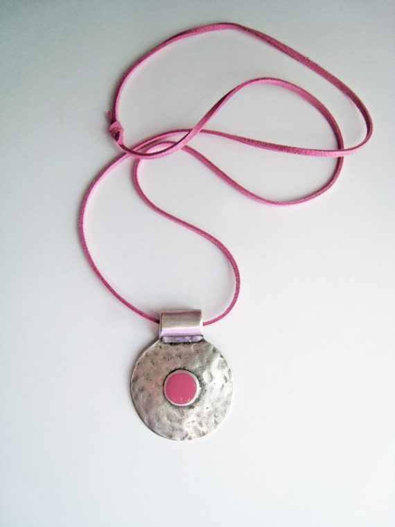 Bohemian necklace, pink necklace, boho chic jewelry, rose magenta fuchsia pink resin necklace, hammered silver round pendant, greek amulet