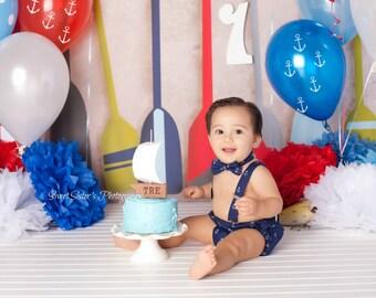 Nautical cake smash outfit, boys nautical 1st birthday outfit, anchor birthday outfit, bow tie and suspenders, boys diaper cover