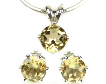 Yellow Citrine Jewelry Set Silver Earrings and Necklace 925 Sterling Silver Gemstone Wife Gift Idea Daughter Present November Birthstone