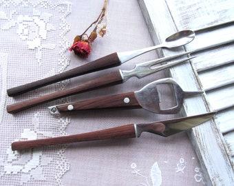 Vintage Stainless Steel and Teak Serving Utensils (Japan)