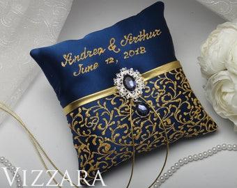 Burlap ring bearer pillow Navy wedding Cheap ring bearer pillow Navy and gold wedding Wedding ring bearer pillows Gold and navy wedding