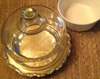 Cheese Dome Server, French White Cookware, Ornate Vintage Silver, Elegant Heirloom Silver Cloche Baking Dish, Wedding Gift Brie Baker