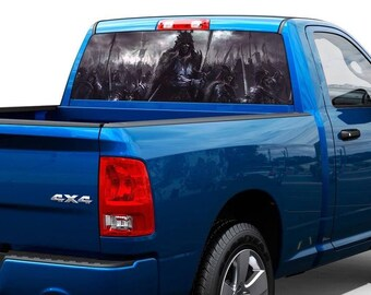 Battle Warriors Death Rear Window Wrap Graphic Decal Sticker Truck SUV