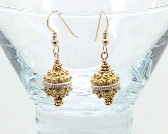 Golden Days, Gold Fill, Sterling Silver, Gold Vermeil, Hook Earrings, Dangle Earrings, Victorian, Gift Idea