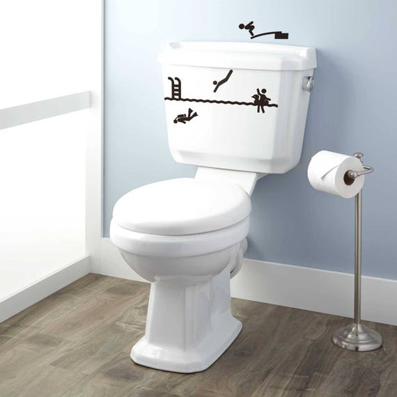 Toilet Decor Decal Set - The trip to the WC has never been so exciting, Toilets WC Fun Funny Dive Diver Swimming Scuba Diver Diving