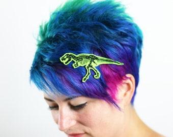T. Rex Skeleton Hair Clip, Halloween, Various Colours on Green